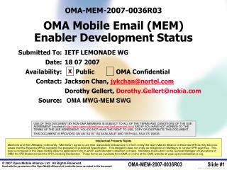 OMA-MEM-2007-0036R03 OMA Mobile Email (MEM) Enabler Development Status