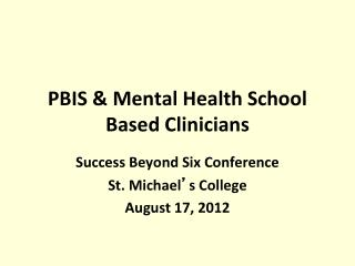PBIS & Mental Health School Based Clinicians