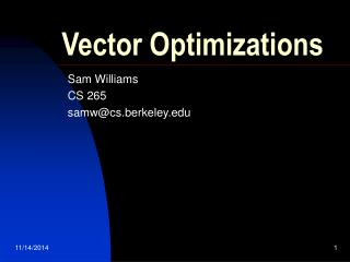 Vector Optimizations