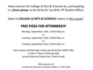 FREE PIZZA FOR ATTENDEES!!!