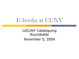 E-books at CUNY