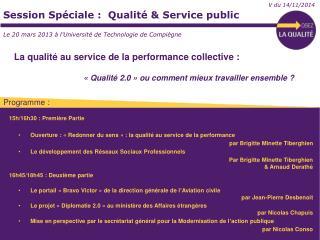 Session Sp�ciale :  Qualit� & Service public