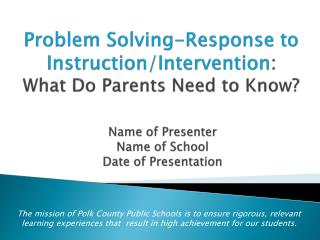 Problem Solving-Response to Instruction