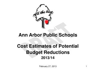 Ann Arbor Public Schools Cost Estimates of Potential  Budget Reductions 2013/14 February 27, 2013