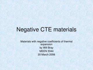 Negative CTE materials