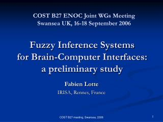 Fuzzy Inference Systems  for Brain-Computer Interfaces:  a preliminary study