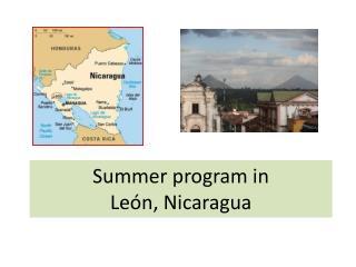 Summer program in  León, Nicaragua