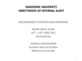 MAKERERE UNIVERSITY DIRECTORATE OF INTERNAL AUDIT