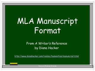 MLA Manuscript Format
