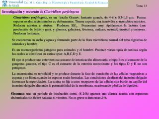 Investigación y recuento de  Clostridium perfringens