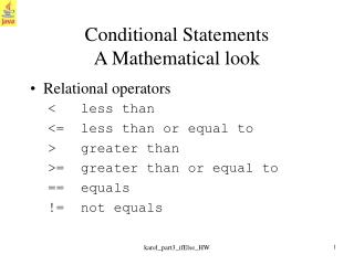 Conditional Statements A Mathematical look