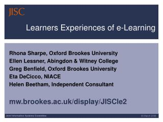 Learners Experiences of e-Learning