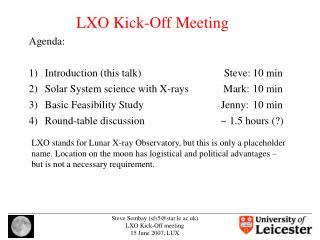 LXO Kick-Off Meeting