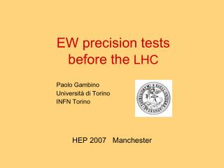 EW precision tests  before the  LHC