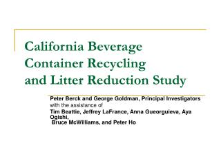 California Beverage Container Recycling  and Litter Reduction Study
