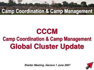 CCCM Camp Coordination & Camp Management  Global Cluster Update