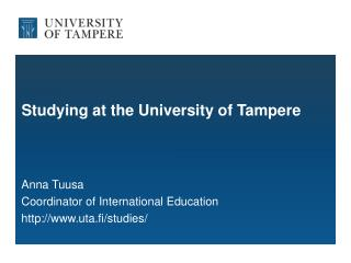 Studying at the University of Tampere