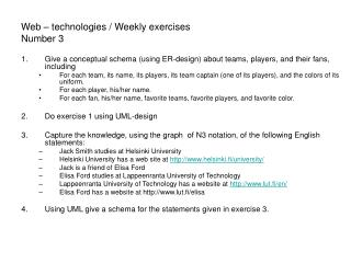 Web – technologies / Weekly exercises Number 3