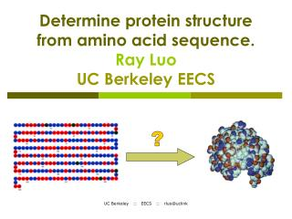 Determine protein structure from amino acid sequence. Ray Luo UC Berkeley EECS