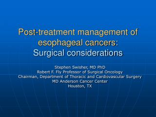 Post-treatment management of esophageal cancers: Surgical considerations