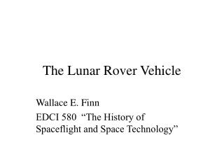 The Lunar Rover Vehicle