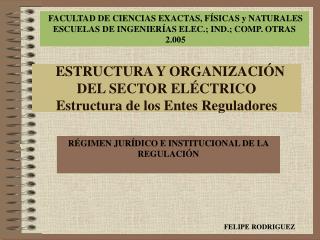 ESTRUCTURA Y ORGANIZACIÓN DEL SECTOR ELÉCTRICO Estructura de los Entes Reguladores
