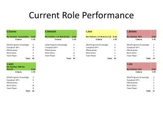 Current Role Performance