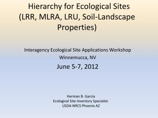 Hierarchy for Ecological Sites (LRR, MLRA, LRU, Soil-Landscape Properties)
