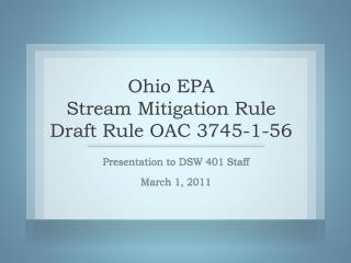 Ohio EPA Stream Mitigation Rule Draft Rule OAC 3745-1-56