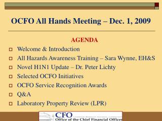 OCFO All Hands Meeting – Dec. 1, 2009