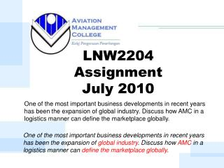 LNW2204  Assignment  July 2010