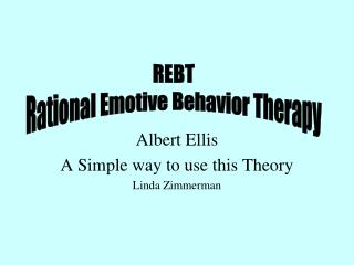 Albert Ellis A Simple way to use this Theory Linda Zimmerman