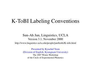 K-ToBI Labeling Conventions