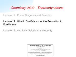Chemistry 2402 - Thermodynamics