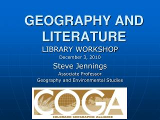 GEOGRAPHY AND LITERATURE