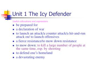 Unit 1 The Icy Defender