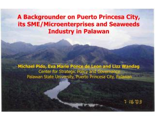 A Backgrounder on Puerto Princesa City, its SME/Microenterprises and Seaweeds Industry in Palawan