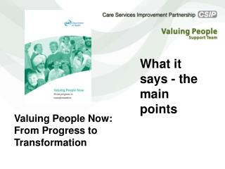 Valuing People Now: From Progress to Transformation