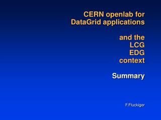CERN openlab for DataGrid applications and the  LCG  EDG  context Summary F.Fluckiger