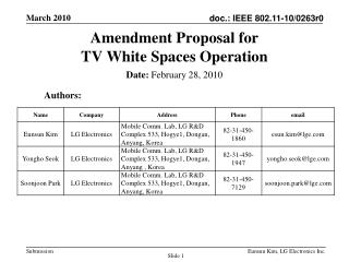Amendment  Proposal for  TV White Spaces Operation