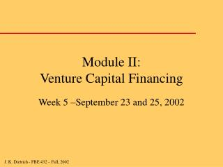 Module II:  Venture Capital Financing