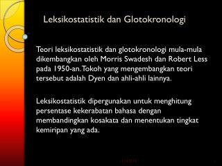 Leksikostatistik dan Glotokronologi