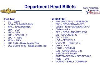 Department Head Billets