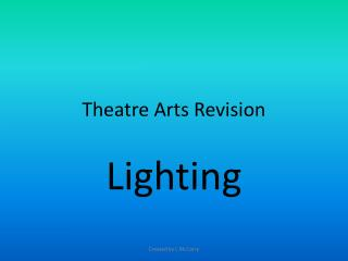 Theatre Arts Revision