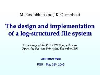 Lanfranco Muzi PSU – May 26 th , 2005