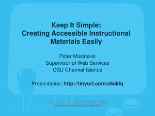 Keep It Simple: Creating Accessible Instructional Materials Easily