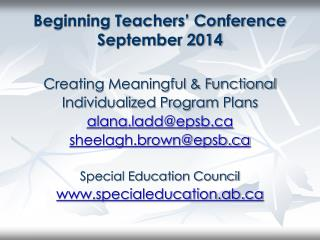 Beginning Teachers' Conference September 2014