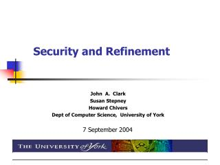 Security and Refinement