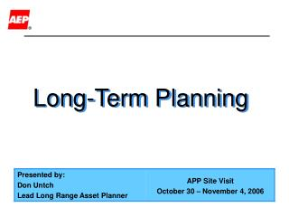 Long-Term Planning