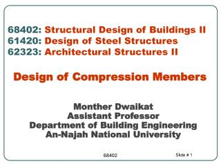 Monther Dwaikat Assistant Professor  Department of Building Engineering